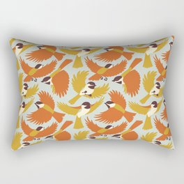 Chickadees in Orange Rectangular Pillow