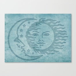 Sun Moon And Stars Batik Canvas Print
