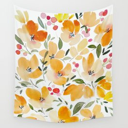 Yellow and Orange Floral Wall Tapestry