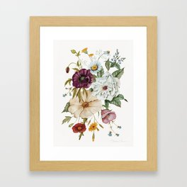 Colorful Wildflower Bouquet on White Framed Art Print