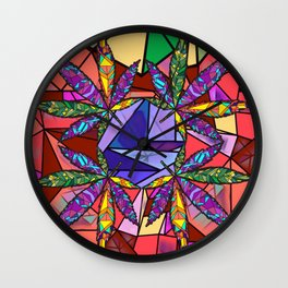 Stained Glass Pot Leaves Wall Clock