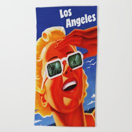 Retro Los Angeles California Travel Poster Beach Towel