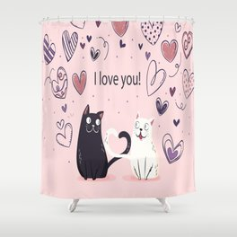 Cats Couple Love Shower Curtain