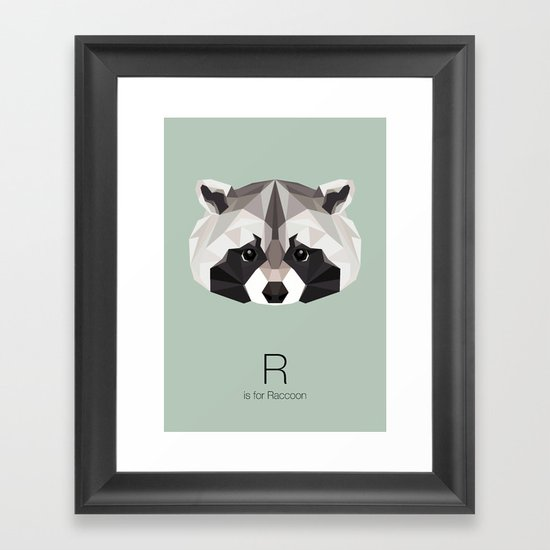 R is for Raccoon Framed Art Print