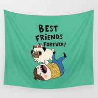 pug Wall Tapestries featuring PUG by Jarvis Glasses