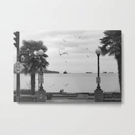 Black and white photography of English bay landscape in beautiful British Columbia Metal Print
