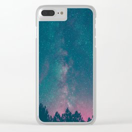 Blue Purple Pink Silhouette Milky Way Galaxy Forest Clear iPhone Case