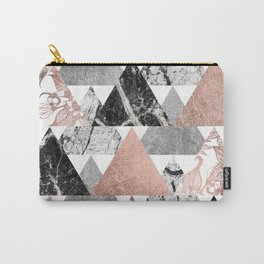 Marble Rose Gold Silver and Floral Geo Triangles Carry-All Pouch