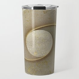 Geometrical Line Art Circle Distressed Gold Travel Mug
