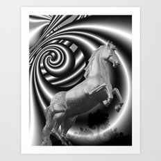 horse statue in black-white Art Print