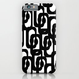 Black and White Mid-century Modern Loop Pattern iPhone Case
