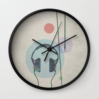 headphones Wall Clocks featuring headphones by avoid peril