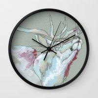 elk Wall Clocks featuring Elk by Sherie Myers
