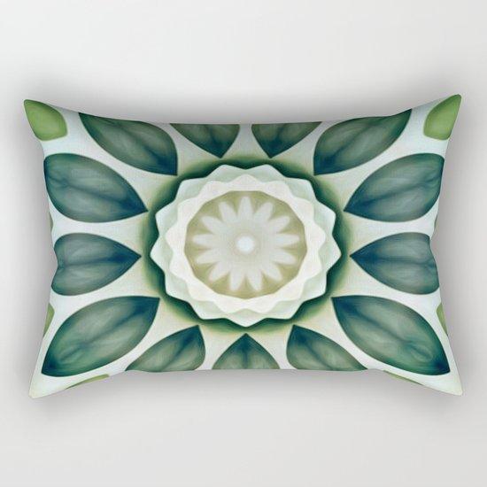 Foliage Greens Flower Kaleidoscope Rectangular Pillow