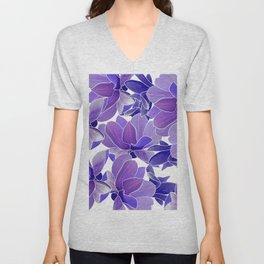 Modern hand painted lilac lavender watercolor floral Unisex V-Neck