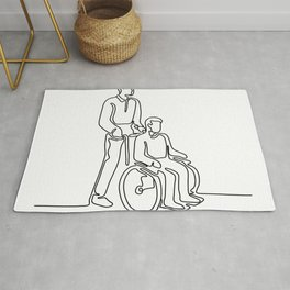 Patient on Wheelchair Continuous Line Rug