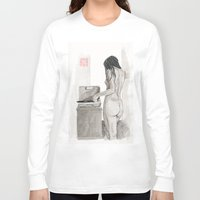 notebook Long Sleeve T-shirts featuring Listening to Records by Bryan James