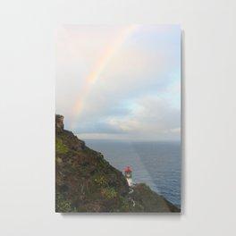 Lighthouse with rainbow Metal Print