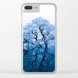 Blue Winter Trees Clear iPhone Case