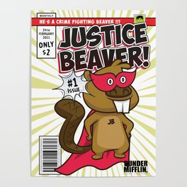 The Office Poster - Justice Beaver Superhero Comic Poster