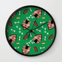 Dog Paradise in Green Wall Clock