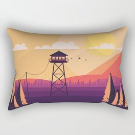 VECTOR ART LANDSCAPE WITH FIRE LOOKOUT TOWER Rectangular Pillow
