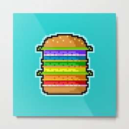 Pixel Hamburger Metal Print