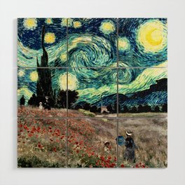 Monet's Poppies with Van Gogh's Starry Night Sky Wood Wall Art