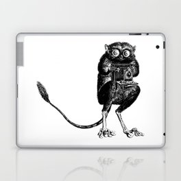 Say Cheese! | Tarsier with Vintage Camera | Black and White Laptop & iPad Skin