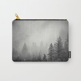 Pines in Fog | Black and White Landscape Carry-All Pouch