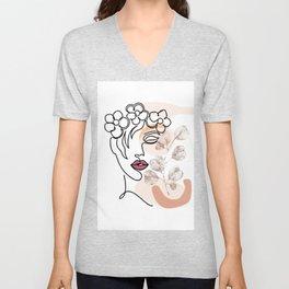 Head of Flowers Line Art, Flower Woman Printable, Flower Head One Line Art, Abstract Minimalist Unisex V-Neck