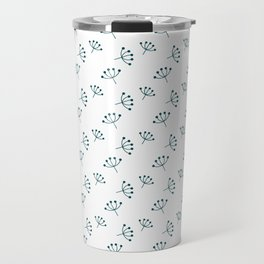 Teal blue Queen Anne's Lace pattern Travel Mug