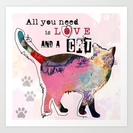 All You Need Is Love And A Cat by Michel Keck Art Print
