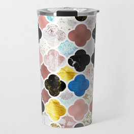 Maroccan Tiles in Various Metallic and Stone Textures Travel Mug
