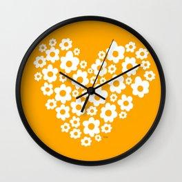 Floral Heart - Orange Wall Clock