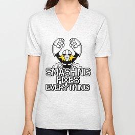 Smashing Fixes Everything Unisex V-Neck