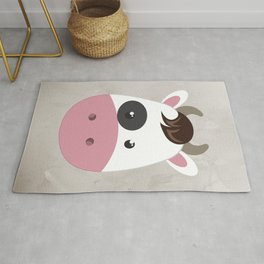 cow cartoon watercolour modern art Rug