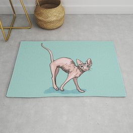 Playful Sphynx Cat Arching Its Back - Wrinkly Nude Kitty - Robins Egg Blue Background Rug