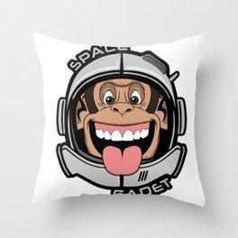 Space Cadet Chimp - Monkey Astronaut Ape Helmet Throw Pillow