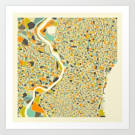 Philadelphia Map Kunstdrucke