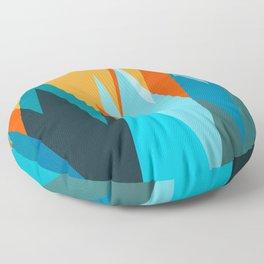 Ice mountain peaks, captivating sunset, geometric landscape design Floor Pillow
