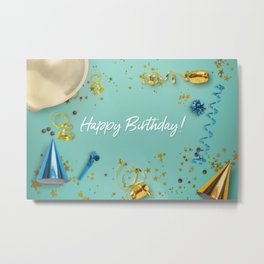 Happy Birthday Party Scene Layflat Metal Print