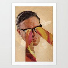 Vintage Business Man with Retro Pattern Laser Eyes Art Print