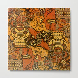 Monsters & Machines Orange Metal Print