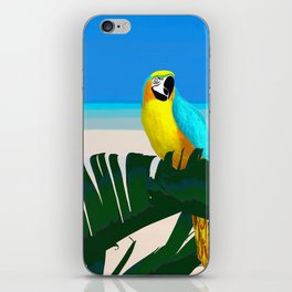 Parrot Tropical Banana Leaves Design iPhone Skin