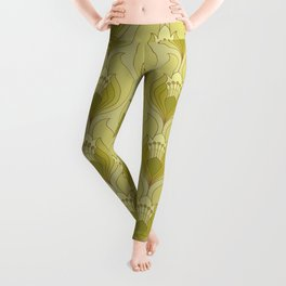 Light Green Floral Art Nouveau Inspired Pattern Leggings