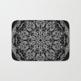 Mandala Project 213   White Lace on Black Bath Mat