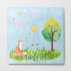 Fox- oh happy day on blue backround- Watercolor illustration Metal Print