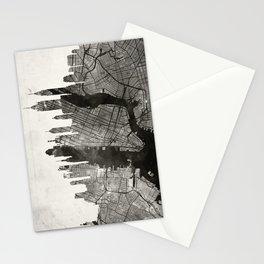 New York Skyline + Map #3 Stationery Cards