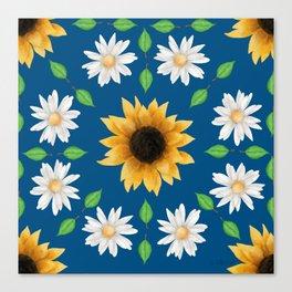 Flower Mandala - Classic Blue Canvas Print